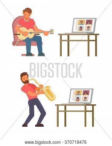 Online Music Masterclass, Vector Flat Style Design Illustration
