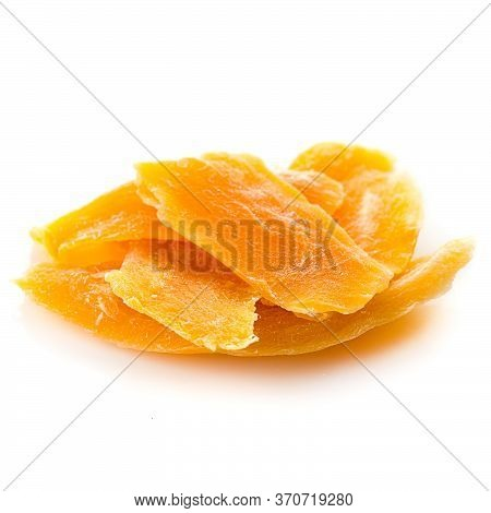 Dehydrated Dried Mango Slice Isolated On A White Background, Healthy Snack
