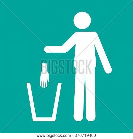 Icon Pictogram Of A Person Throwing A Protective Glove In A Trash Can. Coronavirus, Covid-19 Virus W