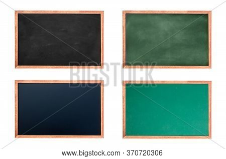 Empty Chalkboard Set For Design. Texture Hang On The White Wall. Double Frame From Green Board And W