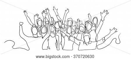 Continuous Line Drawing Of Happy Cheerful Crowd Of People. Cheerful Crowd Cheering Illustration. Han