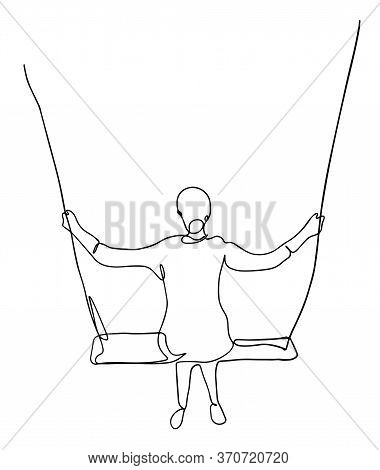 Young Female Character Sitting On A Swing. Modern Lifestyle. Having Fun. Flat Editable Vector Illust