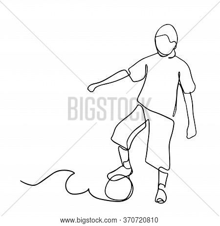 A Kid Playing Football One Continuous Line Drawing Vector Illustration Isolated On White Background.