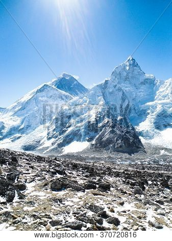 Amzing View Of Mount Everest From Kalla Pattar Peak. The Highest Mountain In The World