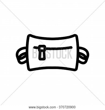 Waist Bag With Zipper Icon Vector. Waist Bag With Zipper Sign. Isolated Contour Symbol Illustration