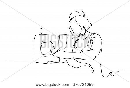 Continuous Single Drawn One Line Woman Sews Behind The Sewing Machine Hand-drawn Picture Silhouette.