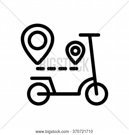 Scooter Gps Mark Way Direction Icon Vector. Scooter Gps Mark Way Direction Sign. Isolated Contour Sy