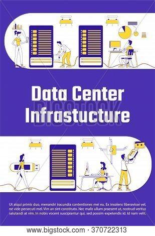 Data Center Infrastructure Poster Flat Silhouette Vector Template. Server Upkeep Brochure, Booklet O