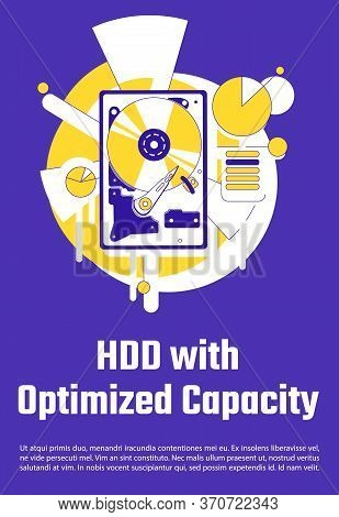 Hdd With Optimized Capacity Poster Flat Silhouette Vector Template. Data Storage Hardware Brochure,