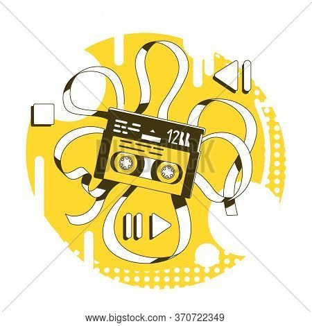 Magnetic Tape Thin Line Concept Vector Illustration. Old Fashioned Walkman Audiotape 2d Cartoon Obje