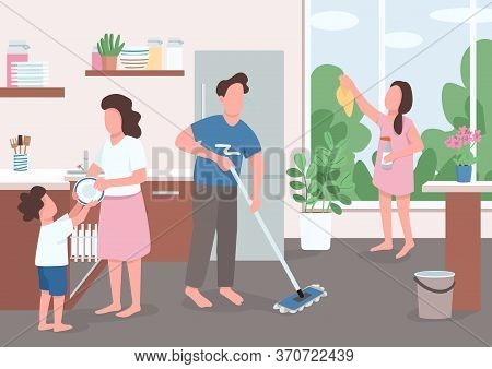 Spring Cleaning Flat Color Vector Illustration. Children Help Parents With Home Chores. Girl Clean W
