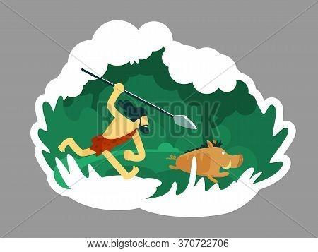 Hunter 2d Vector Web Banner, Poster. Ancient Man With Beard Chase Wild Animal. Caveman Flat Characte