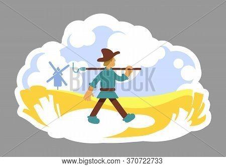 Grower 2d Vector Web Banner, Poster. Golden Grain Plantation. Windmill On Horizon. Farmer With Hoe F