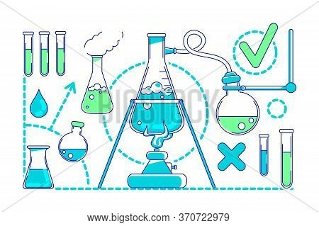 Scientific Experiment Thin Line Concept Vector Illustration. Laboratory Equipment, Flasks And Beaker