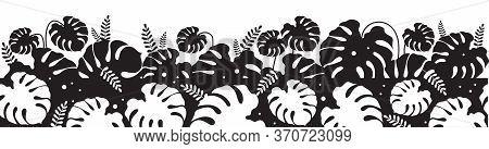 Monstera Leaves Black Silhouette Seamless Border. Jungle Vegetation Monochrome Vector Illustration.