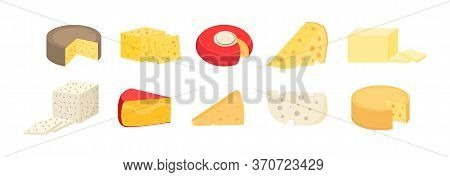 Set Of Cheese Wheels And Slices Isolated On A White Background. Various Types Of Cheese. Modern Flat