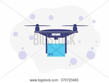 Package Delivery Drone. Concept Illustration Of A Drone Carrying A Package.vector Illustration Of De