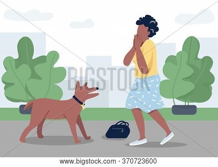 Dog Attack Flat Color Vector Illustration. Young Woman Afraid Of Rabid Animal 2d Cartoon Character W