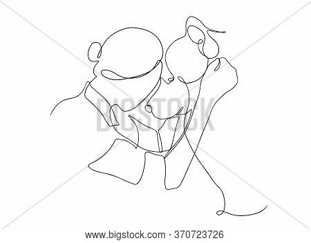 Continuous Line Drawing Of A Happy Pet With A Dog. A Young Woman Squatting, Hugs And Kisses Her Dog.