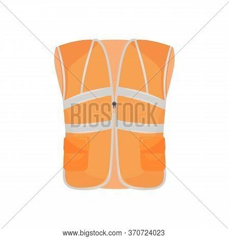 Protective Vest Cartoon Vector Illustration. Reflective Equipment, Workwear, Industrial Uniform Item