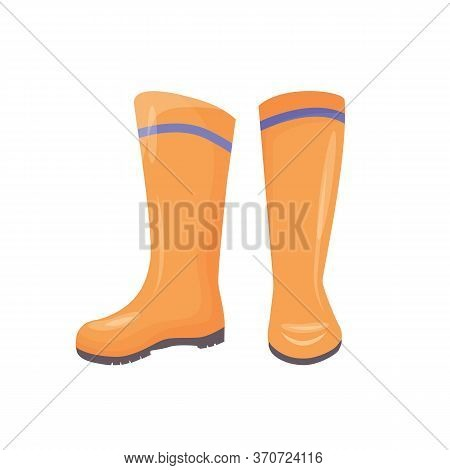 Rubber Boots Cartoon Vector Illustration. Personal Protective Equipment, Footwear. Industrial Waterp