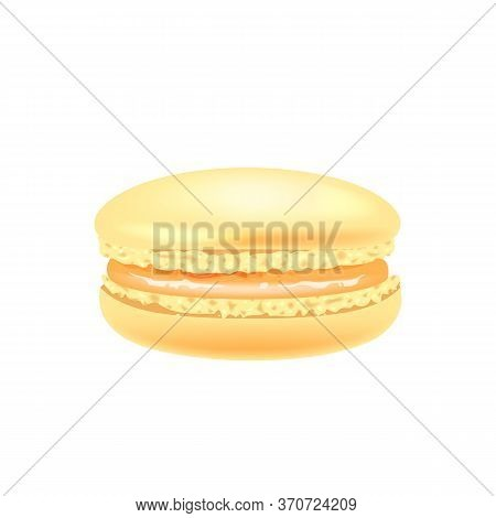 Orange Macaroon Realistic Vector Illustration. Traditional French Confectionery, Almond Cookie With