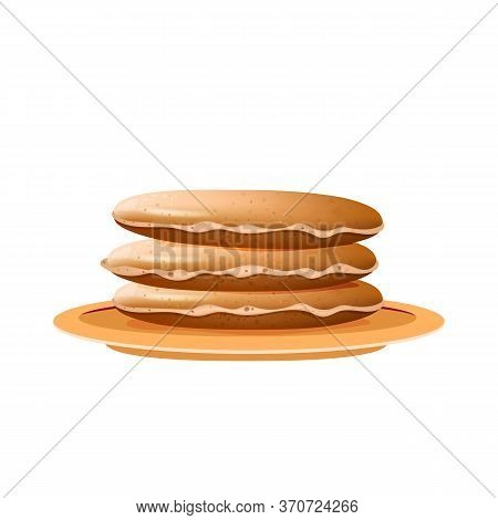 Pancakes Stack On Beige Plate Realistic Vector Illustration. Served Dessert, Traditional American An