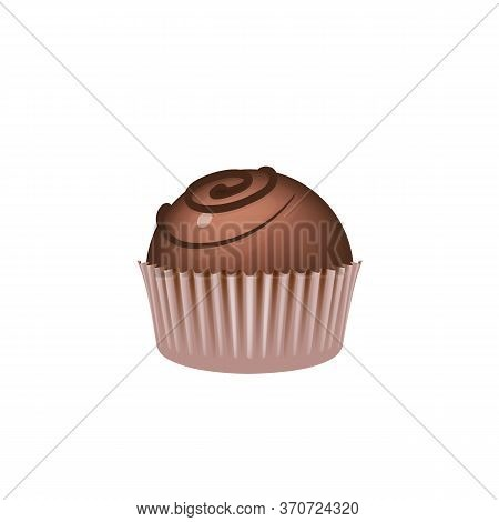 Chocolate Candy On Paper Piece, Sweet Dessert Realistic Vector Illustration. Sugar Confectionery, Gl