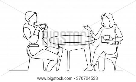 Continuous Line Drawing Of A Women Dining In A Restaurant. Two Beatiful Women Chatting And Drinking
