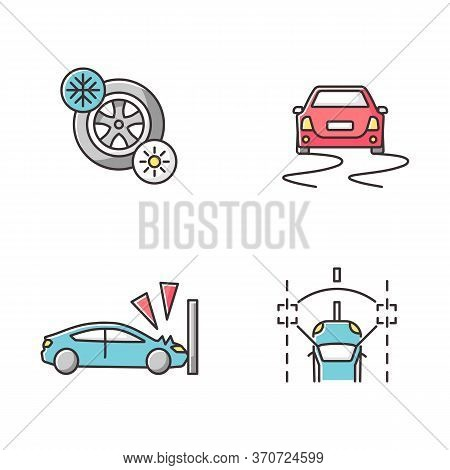 Car Security Measures Rgb Color Icons Set. Driver Assistance. Seasonal Tyres, Crash Test, Stability