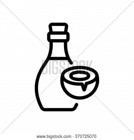 Coconut Elixir Bottle Icon Vector. Coconut Elixir Bottle Sign. Isolated Contour Symbol Illustration