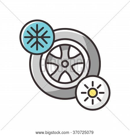 Seasonal Tyres Rgb Color Icon. Safety Driving Rule, Automobile Maintenance. Changing Wheels. Automob