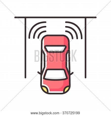 Parking Sensors Rgb Color Icon. Smart Driver Assistance, Automotive Technology, Driving Safety. Mode
