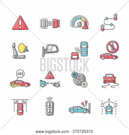 Driving Safety Rgb Color Icons Set. Car Accident Prevention, Traffic Rules And Regulation Laws. Advi