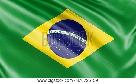 Banner. 3d Illustration. Realistic Flag. Brazil Flag Blowing In The Wind. Background Silk Texture.