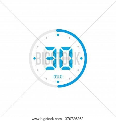 30 Minute. Timer, Clock, Stopwatch Isolated Blue Icons On White Background. Vector