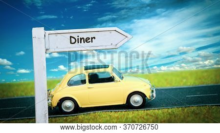 Street Sign The Direction Way To Diner