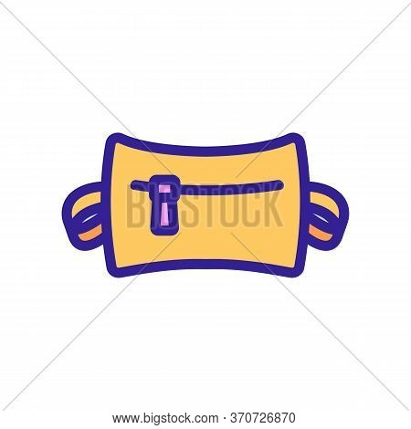Waist Bag With Zipper Icon Vector. Waist Bag With Zipper Sign. Isolated Color Symbol Illustration
