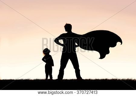 Silhouette Of A Young Girl Child Is Looking Up In Admiration To Her Cape Wearing Superhero Father On