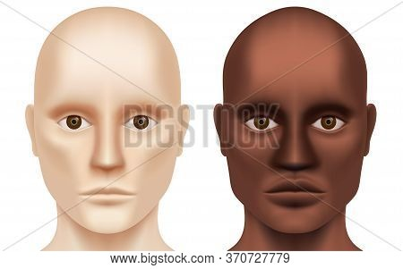 White And Black Bald Hairless Men Looking At The Camera. Caucasian And African-american Man Without