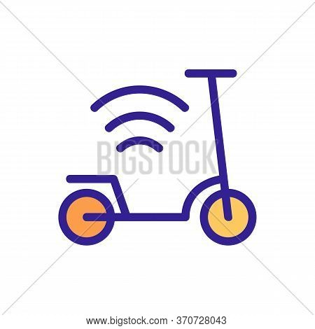 Scooter And Wifi Mark Icon Vector. Scooter And Wifi Mark Sign. Isolated Color Symbol Illustration