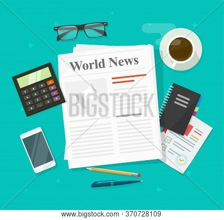 Newspaper Or Daily Press News Paper Folded Magazine On Working Business Office Table Desk And Analys