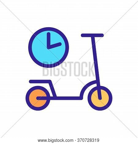Scooter Sharing Using Time Icon Vector. Scooter Sharing Using Time Sign. Isolated Color Symbol Illus