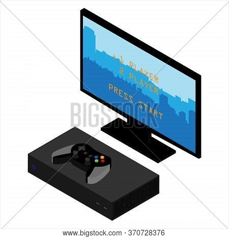 Game Console Isolated On White Background Isometric View.