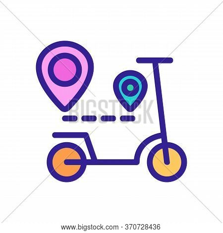 Scooter Gps Mark Way Direction Icon Vector. Scooter Gps Mark Way Direction Sign. Isolated Color Symb