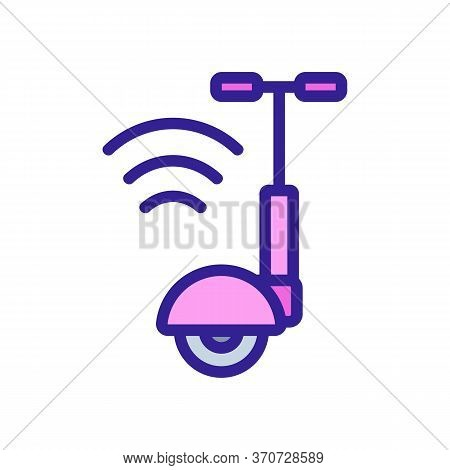 Unicycle Wifi Mark Icon Vector. Unicycle Wifi Mark Sign. Isolated Color Symbol Illustration