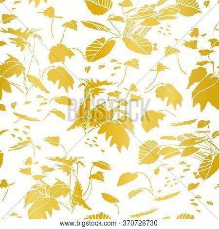 Modern Exotic Jungle Leaf Gold Pattern. Tropical Botanical Leaf, Cut Out Design On Gold Background.