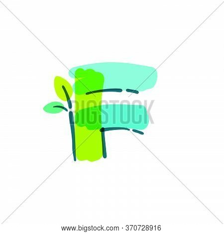 F Letter Logo With Green Leaf Handwritten With A Felt-tip Pen. Vector Bold Marker Font Can Be Used F