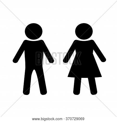 Pattern Of A Pair Of Symbols For A Public Restroom. A Rounded Sign For Distinguishing The Gender Of