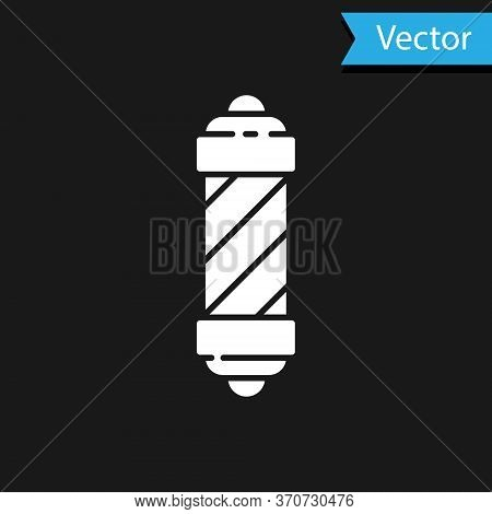 White Classic Barber Shop Pole Icon Isolated On Black Background. Barbershop Pole Symbol. Vector Ill